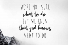 We're not sure what to do. But we know taht God know's  what to do